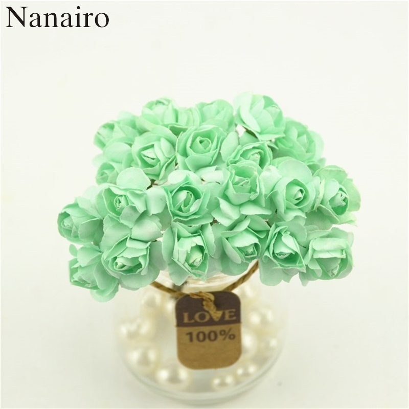 12pcs/lot 2cm Newest Mint Green Mini Paper Rose Flowers Bouquet Wedding Decoration For DIY Scrapbooking Cheap Fake Flores Buds