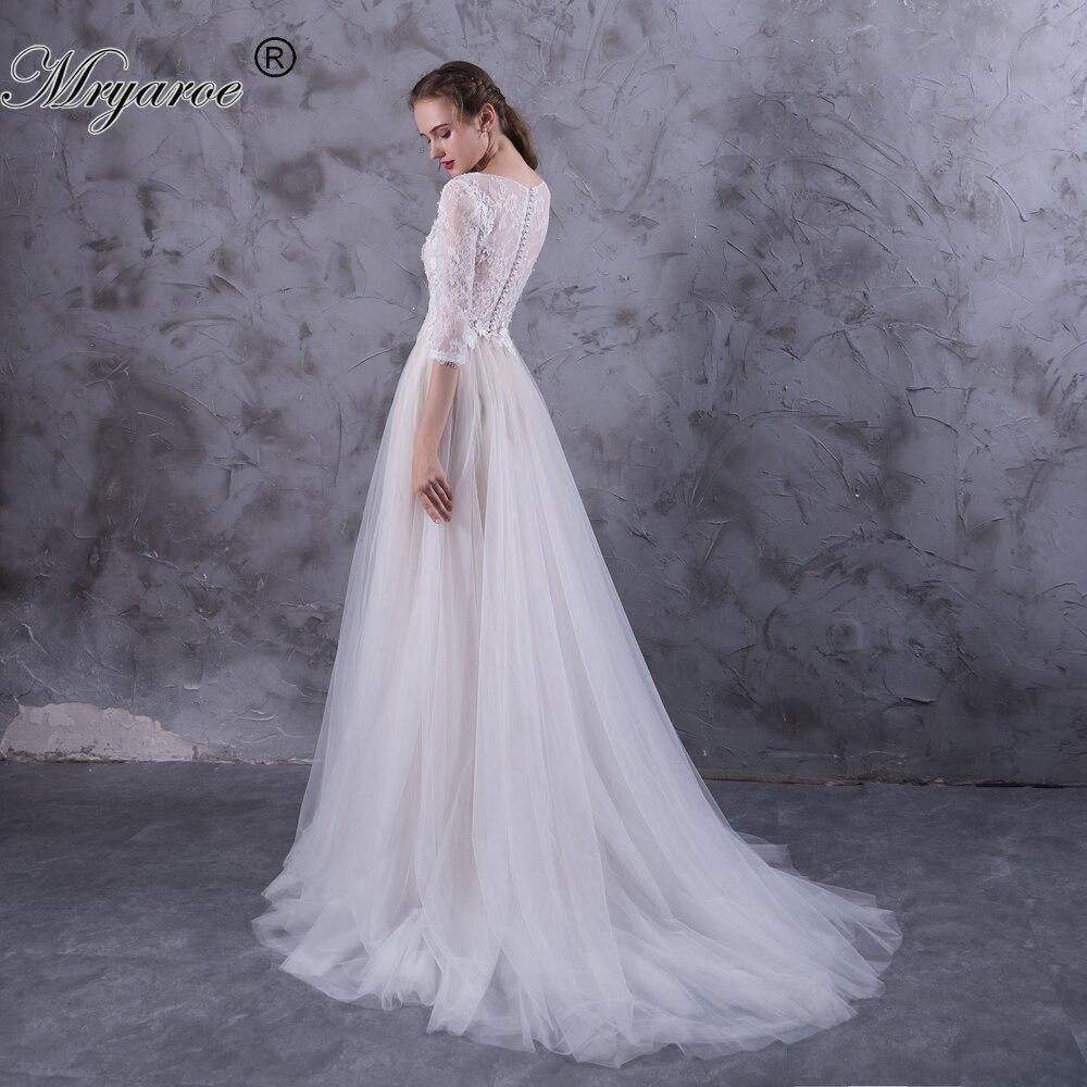 Mryarce 3 4 Lace Sleeves Boho Wedding Dress Tulle A Line Appliqued Button Back Bridal Dresses