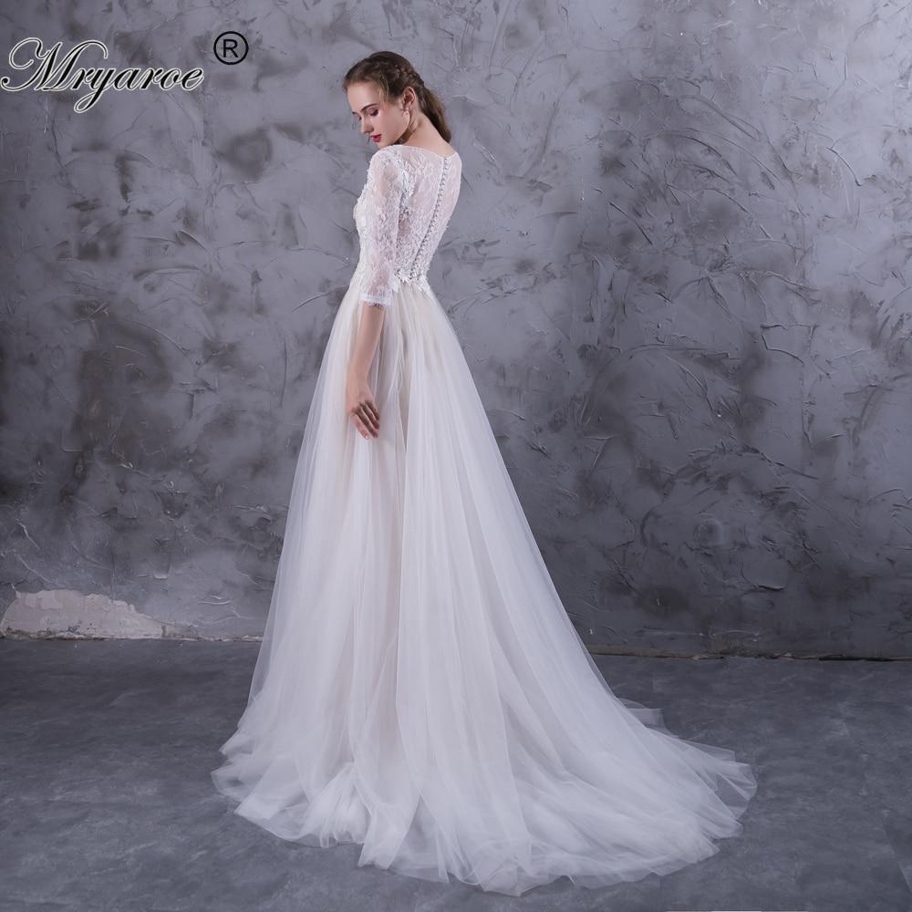 Mryarce 3/4 Lace Sleeves Boho Wedding Dress Tulle A Line
