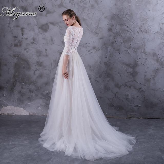 Mryarce 3 4 Lace Sleeves Boho Wedding Dress Tulle A Line Appliqued Button Back  Bridal Dresses robe de mariage 2017 ffcd4bcb12ce