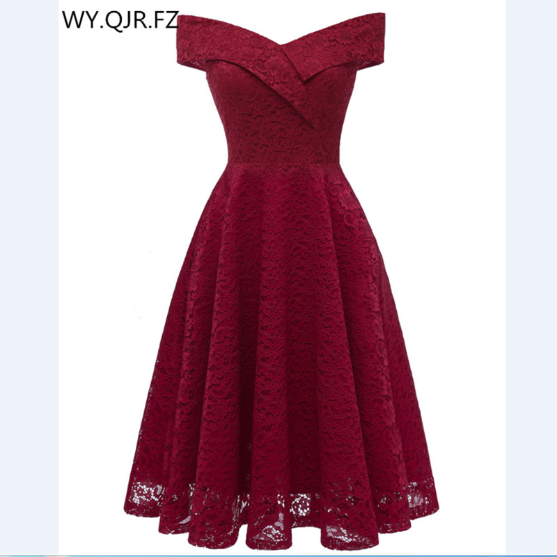 CD1610J#Boat neck Burgundy Short Lace Bridesmaid Dresses wedding party dress gown prom wholesale Bride Wedding Toast clothing