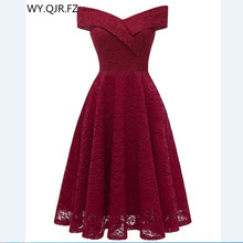 CD1610J # Boat neck burgundia krótka, koronkowa sukienki druhen ślubna suknia na przyjęcie balu hurtownia ślub panny młodej odzież bankietowa