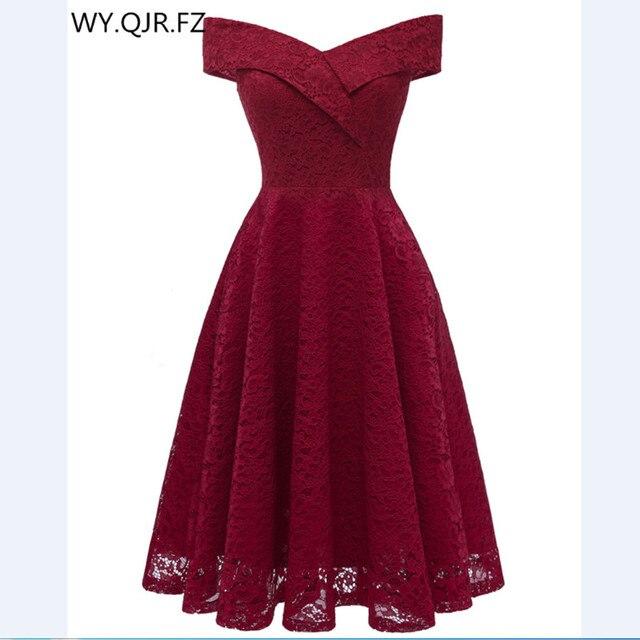 CD1610J # סירת צוואר בורדו קצר תחרה שושבינה שמלות חתונת מפלגה שמלת שמלת נשף סיטונאי הכלה חתונה טוסט בגדים