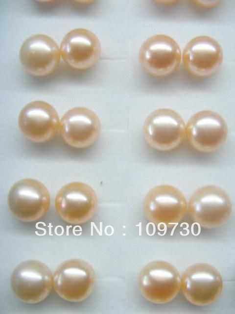 Vente chaude Noble-ry00120 AAA Lots 100 Paires 8-8.5mm D'eau Douce Perle Stud 925 en argent sterling A0422