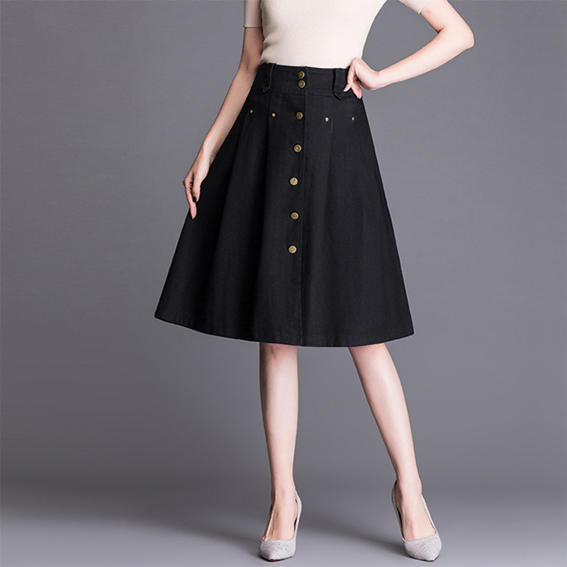 SHERAN 2019 Summer Denim Skirt Women A-line Black Jean Skirts Knee Length Female High Waist Button Umbrella Skirts Jupe Femme
