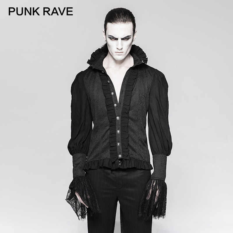 8e3dc342e385 ... PUNK RAVE Gothic Dovetail Black Shirt Lace Puff Sleeves Brocade  Swallow-tailed Men Shirts Halloween ...