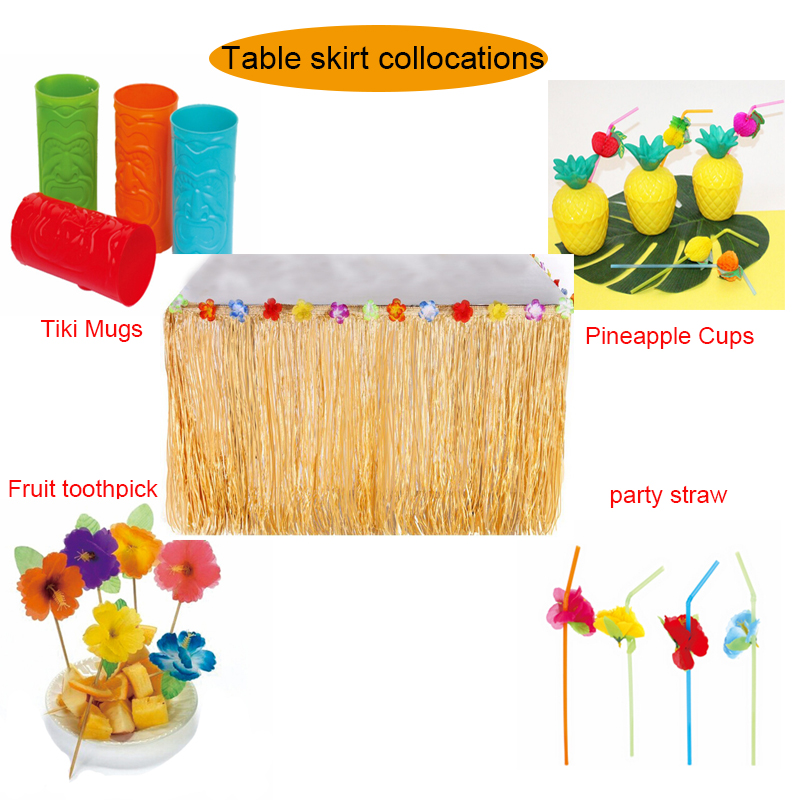 Bosheng 1pcs Luau Grass Hula Table Skirt disposable plastic cups DIY Birthday Wedding Halloween Pool Party Hawaii Party Decor
