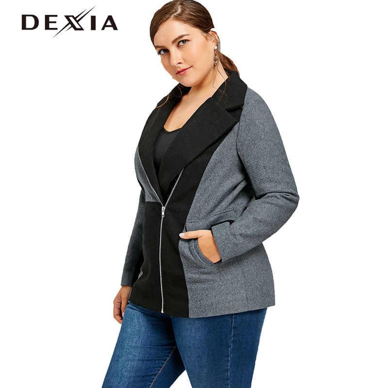 dd4202b5923 DEXIA Plus Size Women Coats Zipper Pockets Turn-Down Collar Long Sleeve  Cotton Trench Geometri