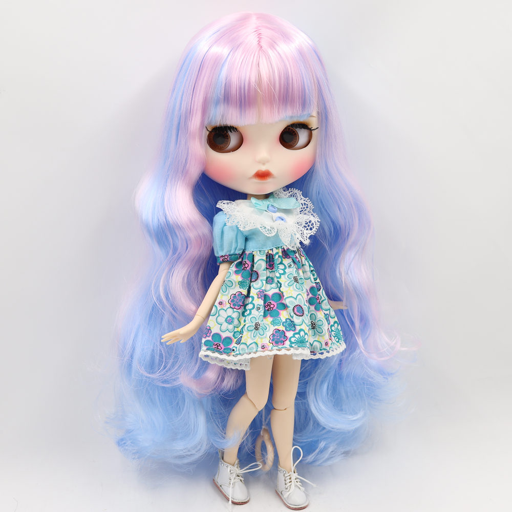 ICY Nude Blyth Doll For No 280BL1017 6005 Pink mix Blue hair Carved lips Matte face