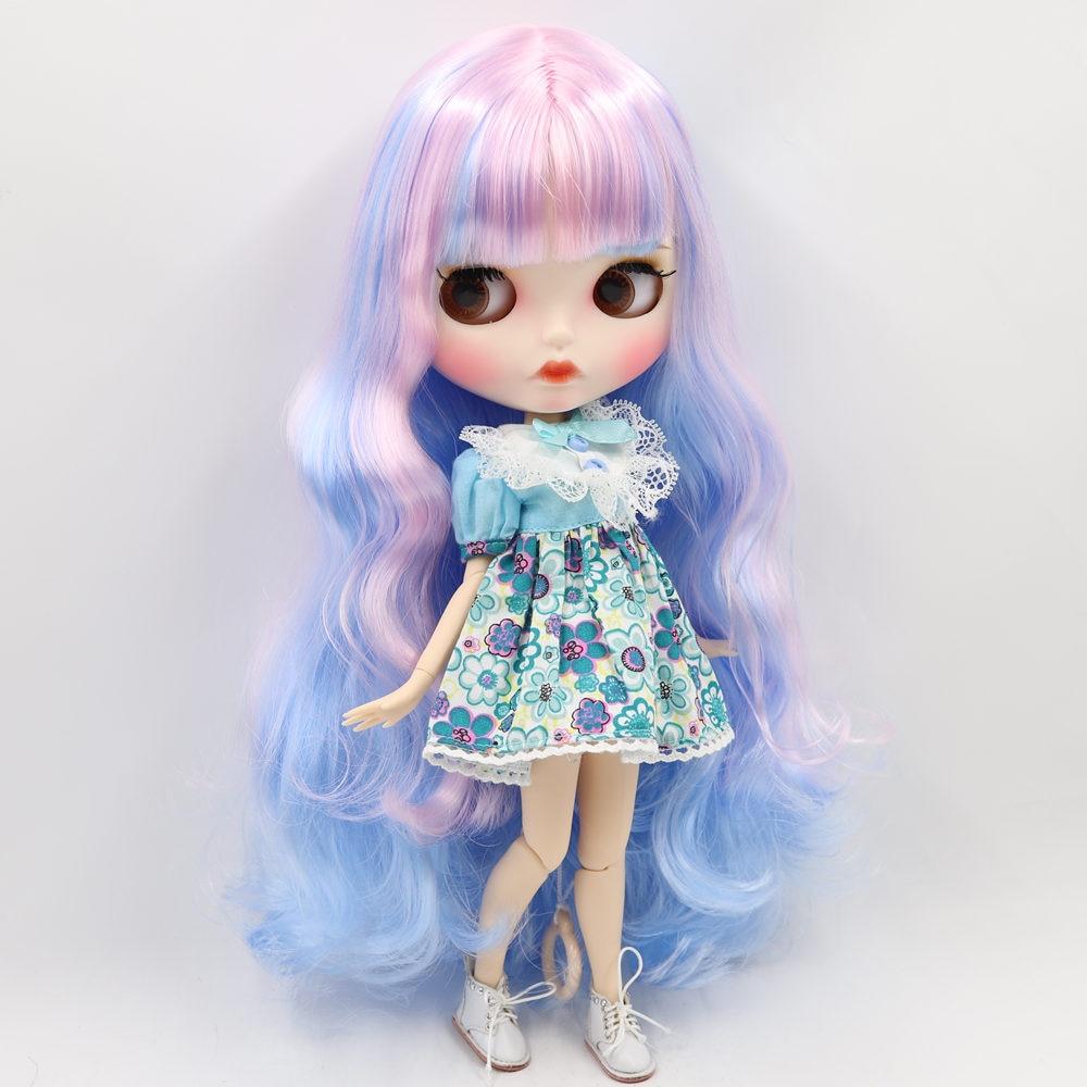 Oyuncaklar ve Hobi Ürünleri'ten Bebekler'de BUZLU Çıplak Blyth Doll Için No.280BL1017/6005 Pembe mix Mavi saç Oyma dudaklar Mat yüz kaşları Ortak vücut 1/6bjd'da  Grup 1