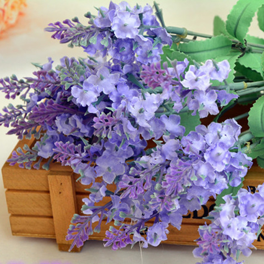 Top Grand 2016 New 10 Heads Artificial Lavender Silk Flower Bouquet Wedding Home Party Decor for