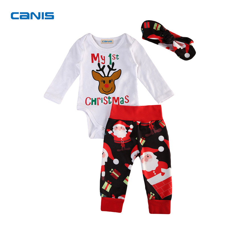 Christmas Costume Kids Baby Girl Boys Clothes Long Sleeve Romper Tops Santa Clause Pants Headband Outfits 3PCS Set 0-24M infant baby boy girl 2pcs clothes set kids short sleeve you serious clark letters romper tops car print pants 2pcs outfit set