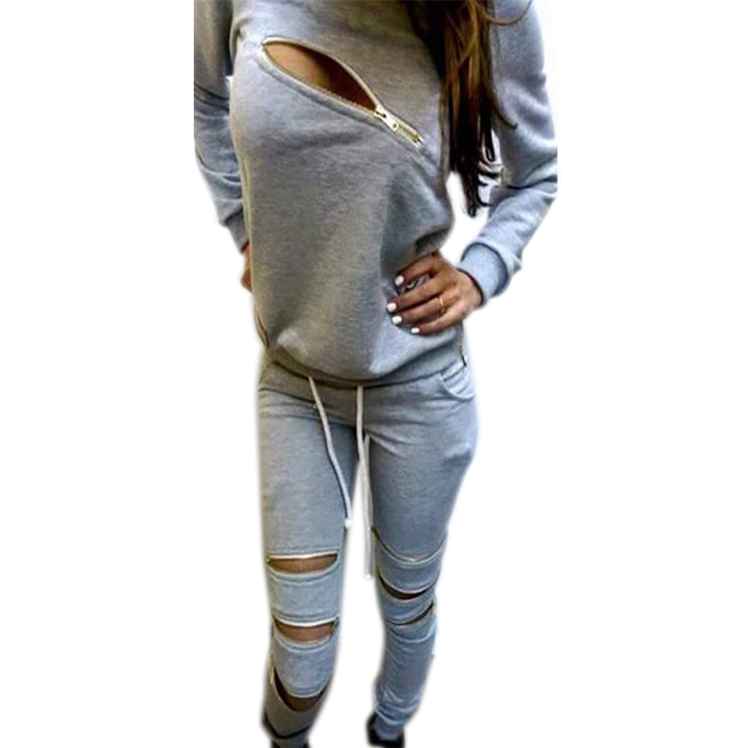 e3505711c8d7 Women Tracksuits Fashion Zipper Hollow Out Hoodies Sweatshirt + Pant ...
