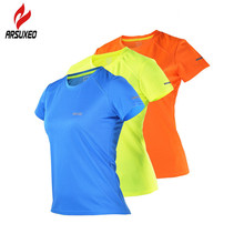 ARSUXEO Summer Reflective Womens Running Shirts Quick Dry Gym Yoga Sport T Shirt Fit Crossfit Fitness Jersey Sportswear