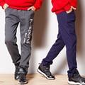 Зима теплая Хлопка Мальчик брюки 100-150 см мальчики 3-12 Т плюс флис теплый мальчик брюки дети спортивные повседневные брюки детские Спортивные Штаны