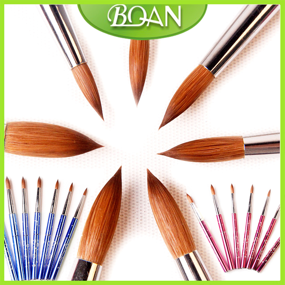 BQAN  New 1pcs #6#8#10#12#14#16#18 Kolinsky Sable Brush Acrylic  Nail Art Brush Pink Metal Crystal Acrylic Salon osaka acrylic nail kolinsky brush 14