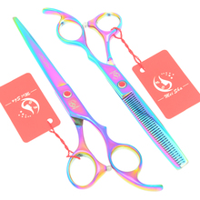 Meisha 7 inch Rainbow Cutting Thinning Styling Tools Salon Tesouras for Trimming Hair Hairdressing Scissors Set HA0367
