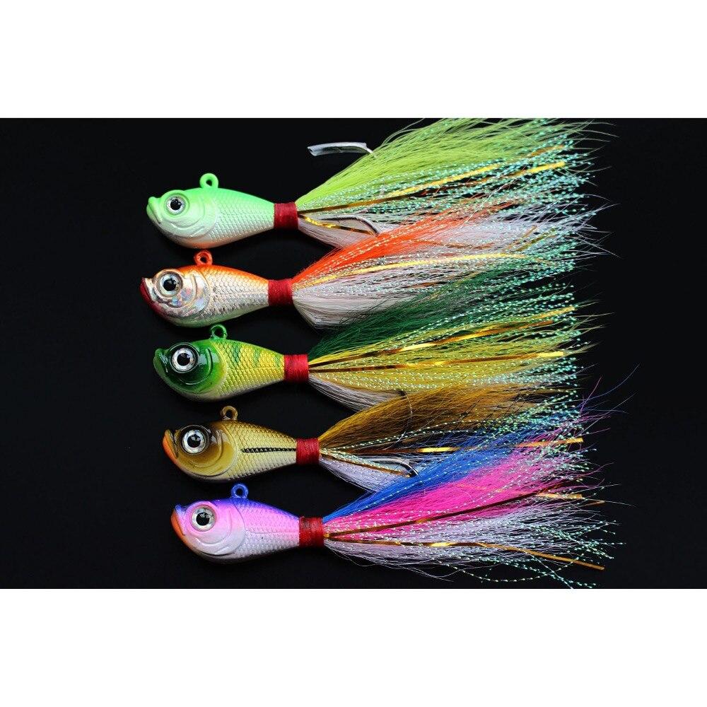 Tigofly 5 Pcs/lot 5 Colors 14g 28g 56g Lead Head Bucktail Fishing Lure Hook Ice Fishing Bait Teaser Jig Lures Fishing Tackle
