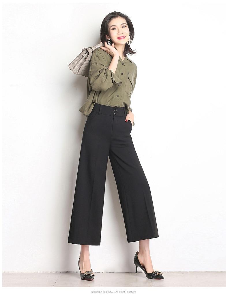 Nuevo de mujeres ancho de la pierna Pantalones de cintura alta 2ba9819d703f