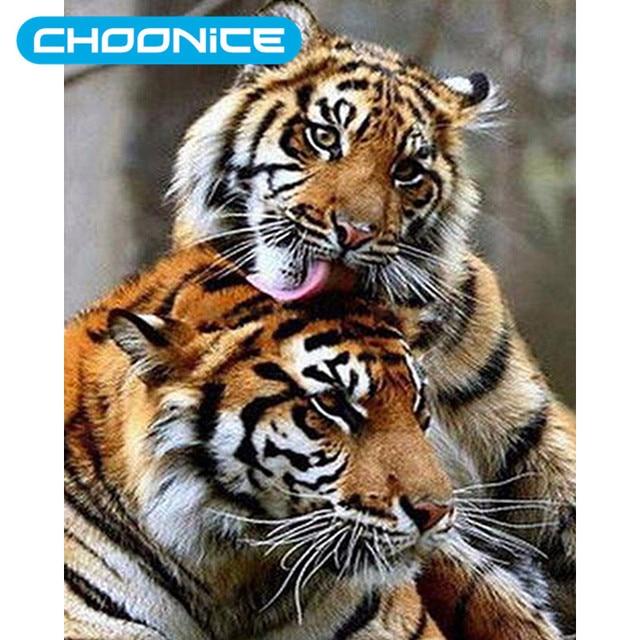 Berlian Lukisan Harimau Mewarnai Gambar Menjilati Pendamping Diy 3d