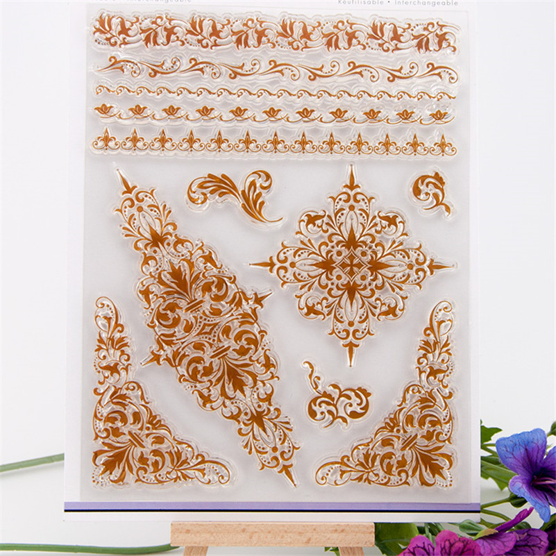 Scrapbook DIY photo cards beauty lace flowers clear stamp transparent stamp for wedding Christmas gift photo album RM-105 lovely animals and ballon design transparent clear silicone stamp for diy scrapbooking photo album clear stamp cl 278