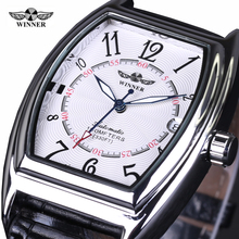 2016 new fashion Winner brand design skeleton military clock leather men Vintage mechanical wrist dress luxury Retro sport watch