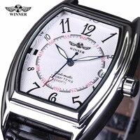 2016 New Fashion Winner Brand Design Skeleton Military Clock Leather Men Vintage Mechanical Wrist Dress Luxury