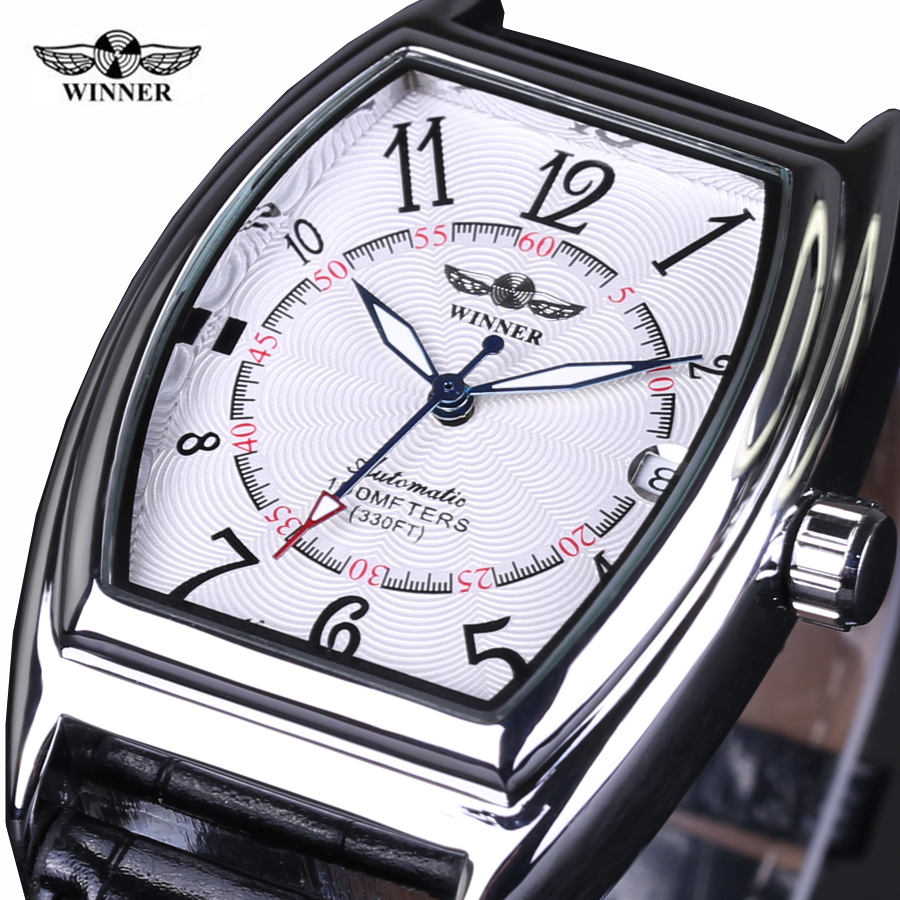 2018 new fashion Winner brand design skeleton military clock leather men Vintage mechanical wrist dress luxury Retro sport watch new vintage luxury brand design 100