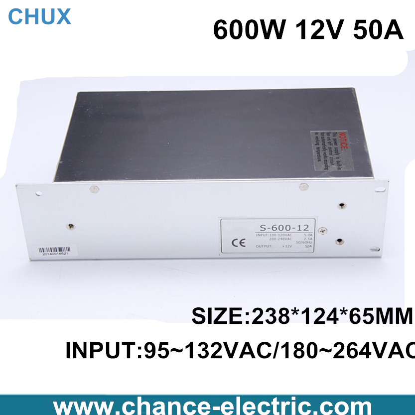 switching power supply 600w 12V 110 or 220VAC single output input 600W  50A for cnc  led light(S-600W-12V) free shipping low price high quality 12v 600w s 600 12 50a ce led strip light single output switching power supply indoor power free shipping