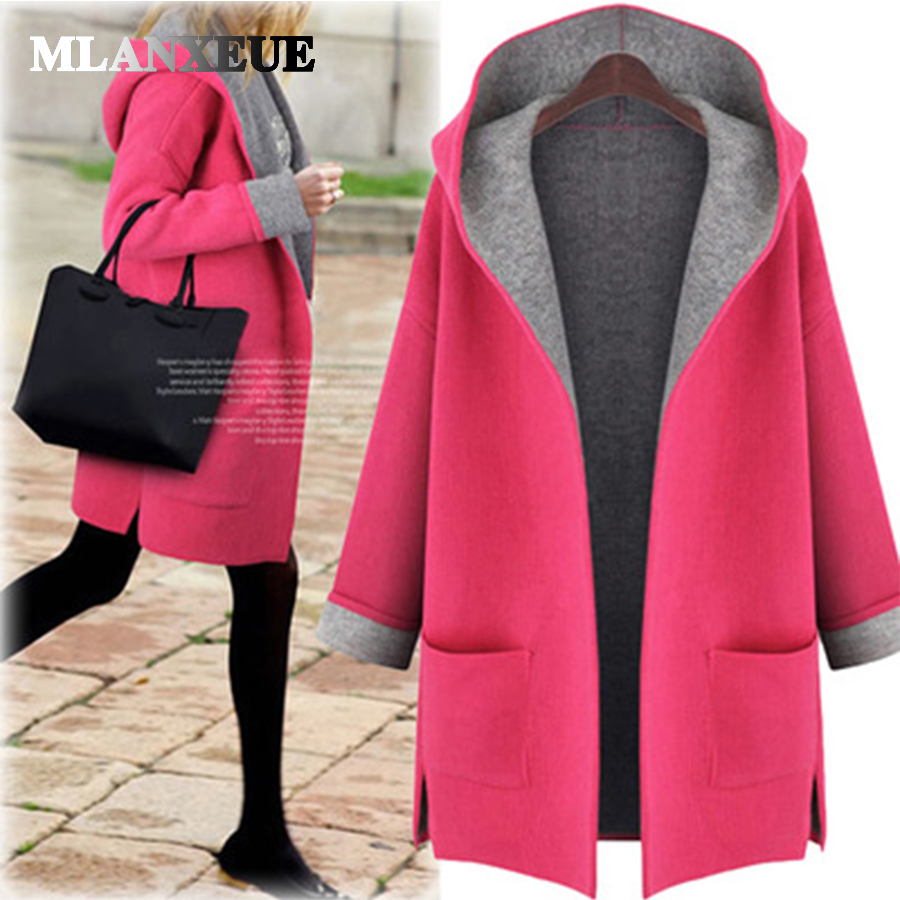 Hat   trench   women solid warm   trench   coat para mulheres turn down pocket open stitch no zip no button plus size   trench   coat winter