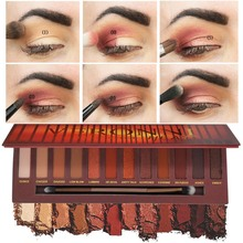 12 Warna Meleleh Rock Shadow Palette Shimmer Matte Eyeshadow Makeup Brown Hangat Pro Merah Smoky Eye Cosmetic