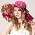 Verano gran sombrero de ala playa sombreros de sun del casquillo para las mujeres protección UV sombrero de las mujeres con grandes cabezas plegable estilo dama de la moda del sombrero del sol 2016