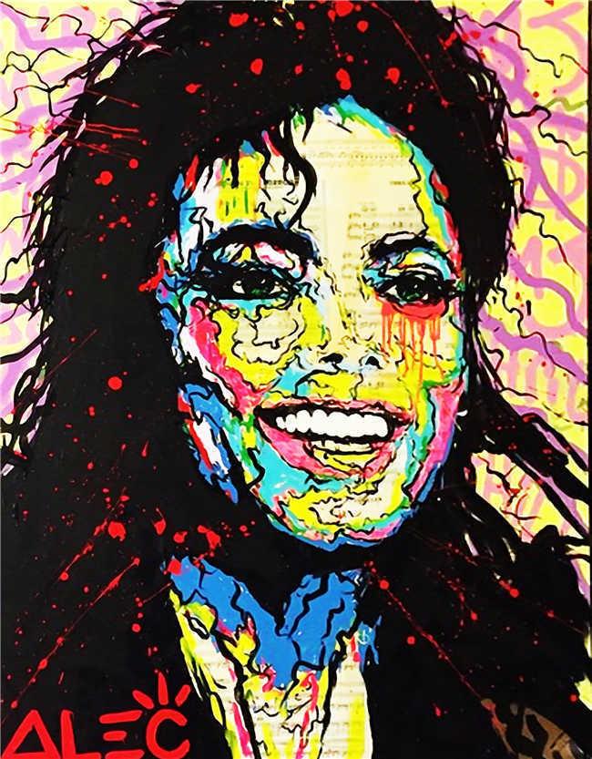 100% fait à la main Alec monopole Banksy peinture à l'huile sur toile Graffiti art Michael Jackson 24x36