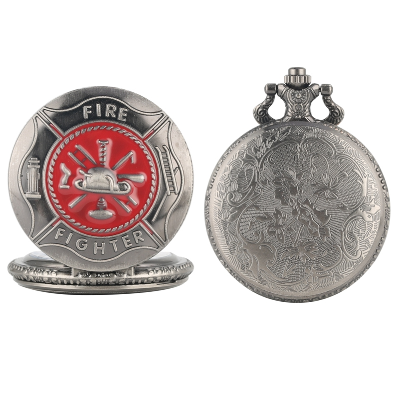 Gray Red Fire Fighter Symbol Carving Pocket Watch Steampunk Firefighter Cover Quartz Watch Fireman Pendant Gift Necklace Chain