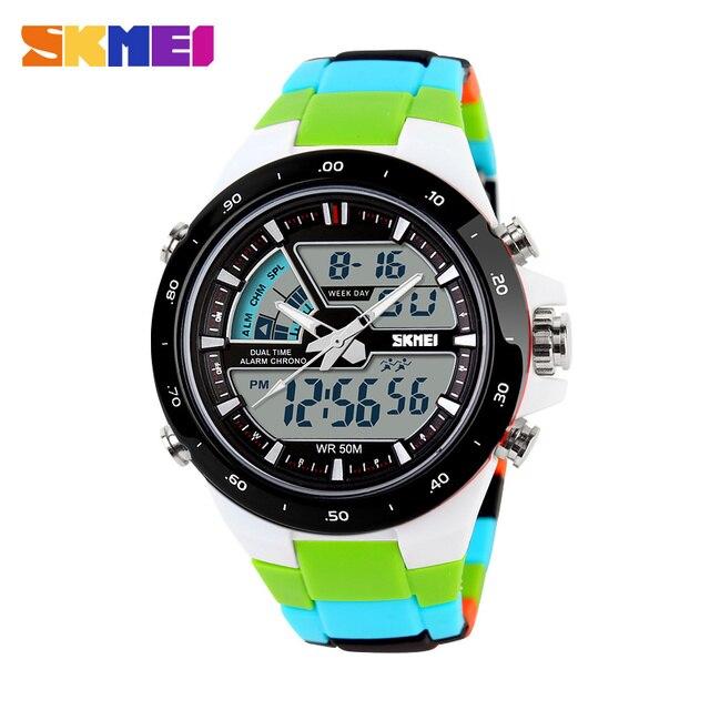 SKMEI Популярные Для женщин Спортивные часы модные Повседневное Водонепроницаемый Многофункциональный цифровой кварцевые Военная Униформа часы студент наручные часы