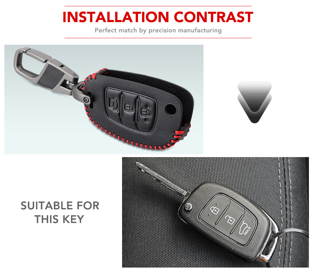 3 Button Leather Car Remote Flip Key Fob Shell Cover Case For Hyundai Creta I10 I20 Tucson Elantra Santa Fe 2016 2017 2018 2019