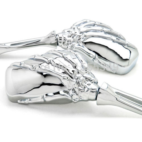 Chrome Skull Skeleton Aluminum Motorcycle Mirrors For Harley Sportster Dyna Touring Softail