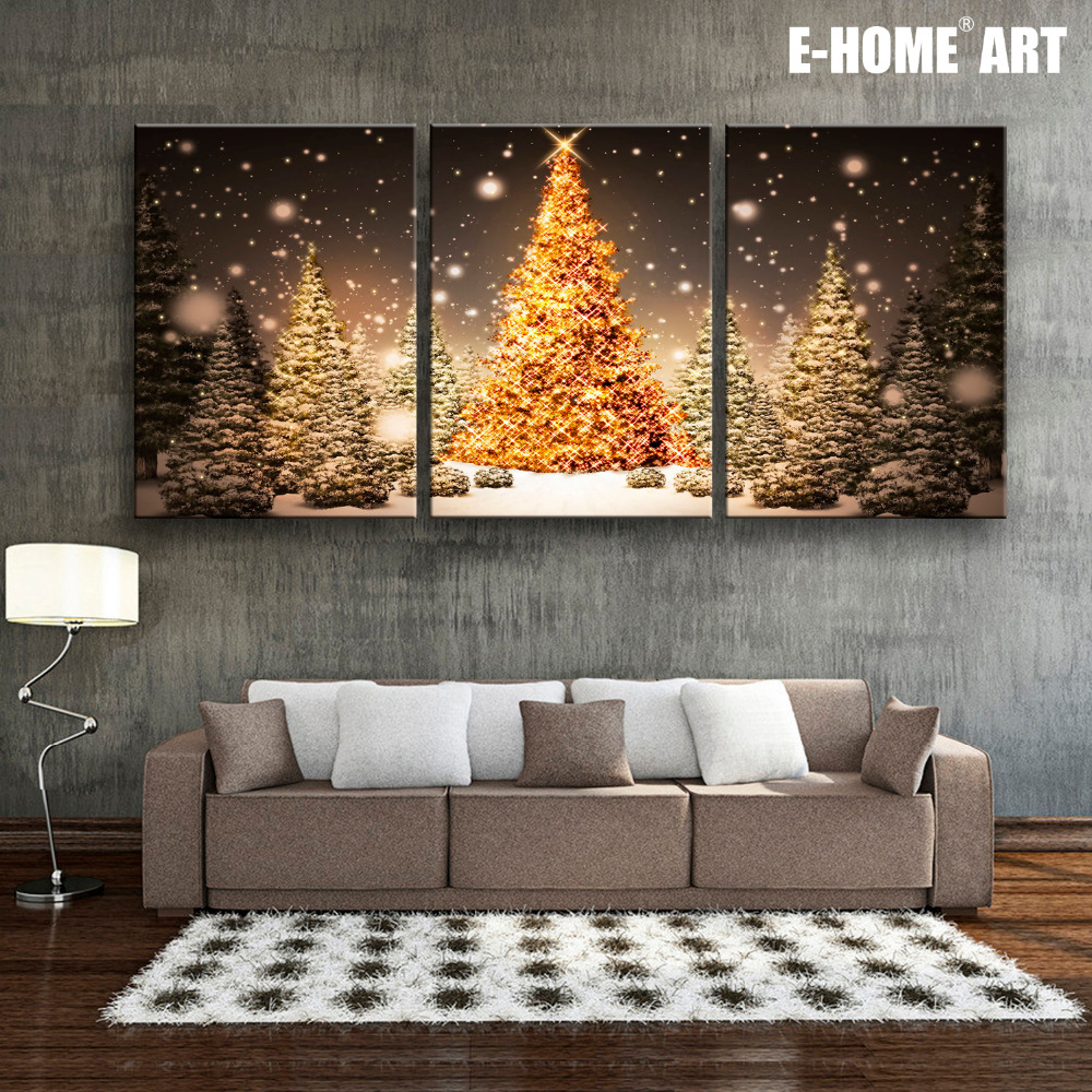 E Home Stretched Led Canvas Print Christmas Tree In The