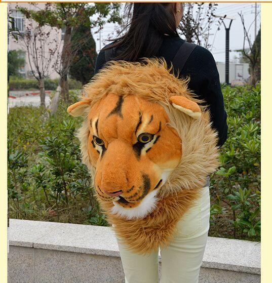 Peluche simulation tête de lion sac à dos nouveau créatif tête de lion sac à dos cadeau 1732