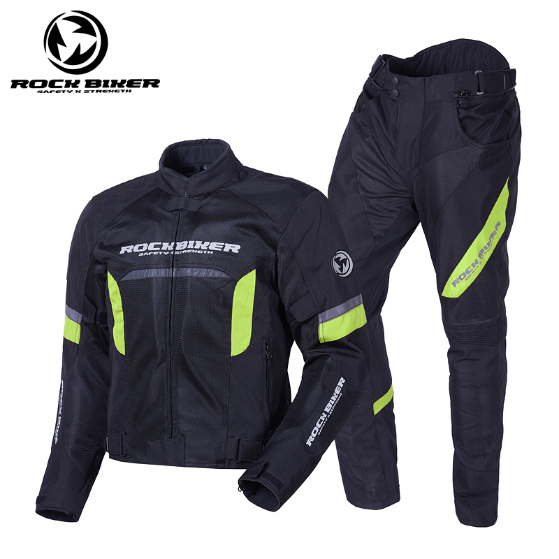 ROCKBIKER Summer Reflective Motocross Jackets Breathable Motorcycle Jacket Men Motorbike Pants Knee Protector Pads Racing Suit moto gp 2018 summer for yamaha jacket winter motorcycle racing pants jackets for men chaqueta suit protector pads motor trousers