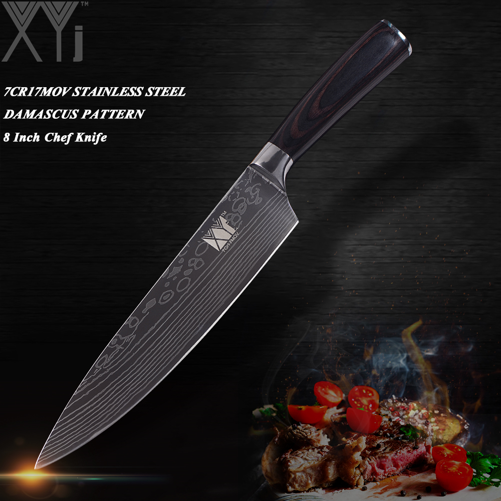 XYj Ultra-thin Blade Stainless Steel Kitchen Knife 7Cr17 Damascus Vein Chef Slicing Santoku Utility Paring Knife Cooking Tools