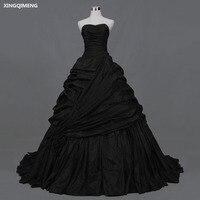 Черные атласные свадебное платье длинные элегантные свадебное платье es Sexy бретелек Высокое качество Свадебные платья Простой суд поезд