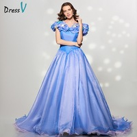 Fancy Cinderella Princess Ball Gown Quinceanera Dresses Blue Organza Off The Shoulder Sweety 15 Anos Cleanance