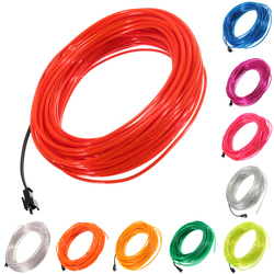 20M Flexible EL Wire DC 12V Soft Tube Wire Neon Glow Car Rope Strip Light Decor 2.3mm Diameter