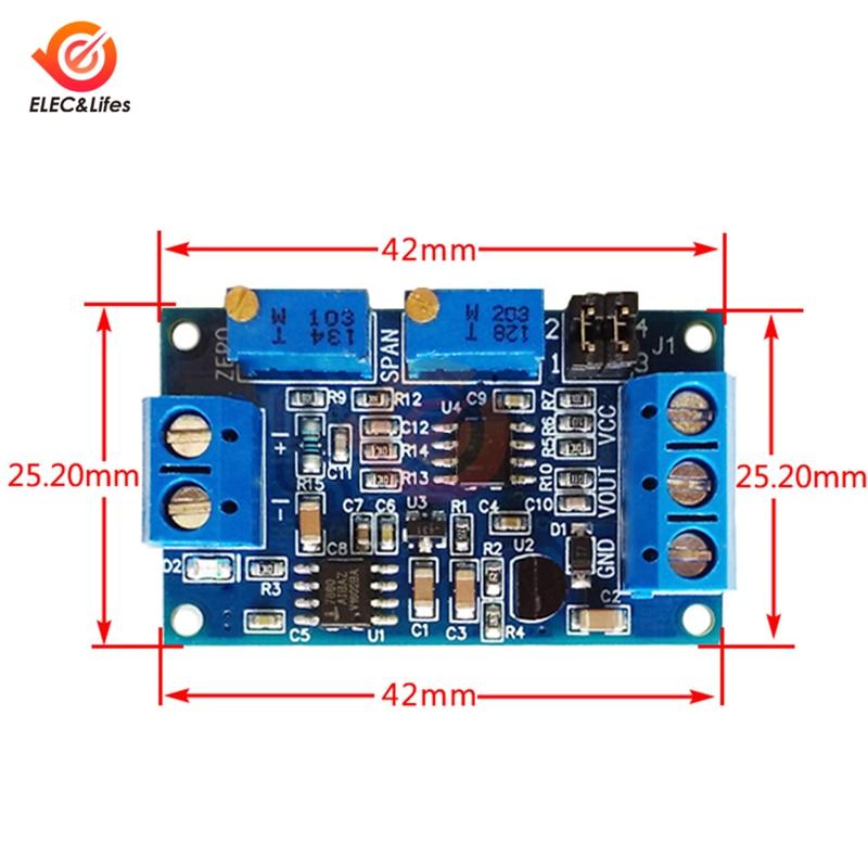 Current to Voltage Module 0/4-20mA to 0-3.3V 5V 10V voltage Transmitter Converter signal conversion Module VCC VOUT GND