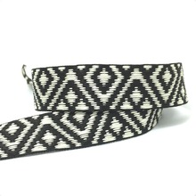 NEW 1 25MM 10YARD/SETS DOUBLE FACE Black and ivory GEOMETRIC JACQUARD RIBBON MZZD16052502