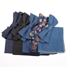Mens ties denim Bowtie handkerchief Set Solid fashion cotton Flowers  wedding Business necktie dress For Men cravat Pocket towel