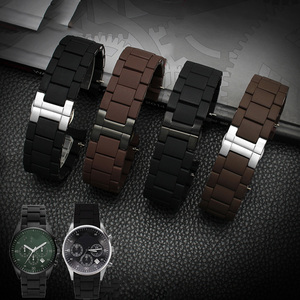 Image 2 - 20mm 23mm Steel Rubber Silicone Watch Band Apply to Armani AR5905 AR5906 AR5919 AR5920 Watches Wrist Strap Watchband Rosegold