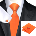 Fashion Men Ties Orange Solid Tie Hanky Cufflinks Silk Jacquard Neckties Ties For Men Formal Business Wedding Party C-266