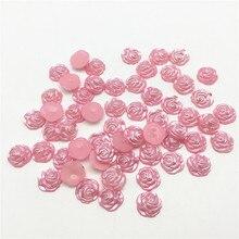 100 шт 12 мм розовый жемчуг цветок плоские задники кабошоновые украшения для скрапбукинга, рукоделия